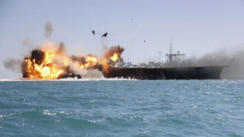 ایران کی امریکی طیارہ بردار بحری بیڑے کے نمونے پر نشانہ بازی کی منفرد مشق، امریکہ کا شدید ردعمل
