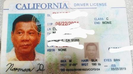 لاس اینجلس پولیس کو فلپینی صدر کی تصویر کا حامل جعلی ڈرائیونگ برآمد: تحقیقات شروع